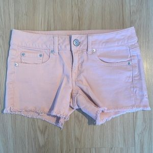 American Eagle pink denim shorts